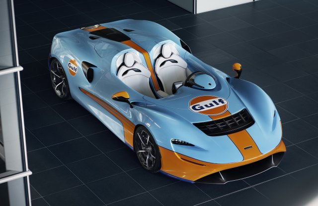 Klasszikus Gulf festést kapott a legextrémebb McLaren