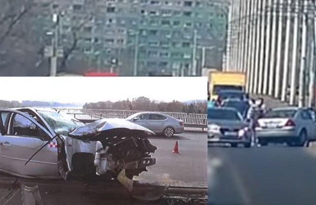Videón az Árpád hídon történt április eleji hatalmas baleset!