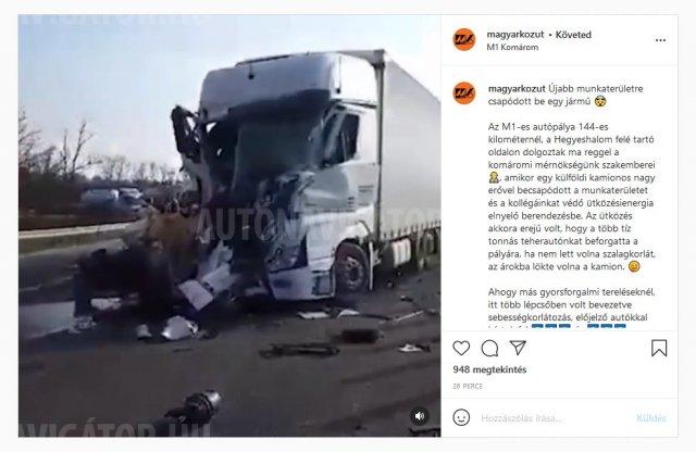 Munkaterületbe csapódott egy kamion az M1-es autópályán