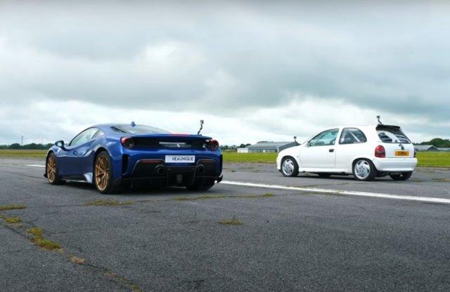 Opel Corsa ellen állt rajthoz egy Ferrari, de vajon ki nyert?