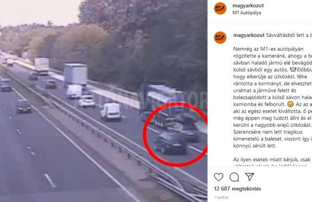 Komoly balesetet okozott egy szabálytalan sávváltás az M1-en